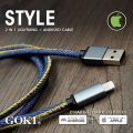 GOKI CBL-1058-L Key Holder with Denim Fabric Charging Cable 30cm (Blue)