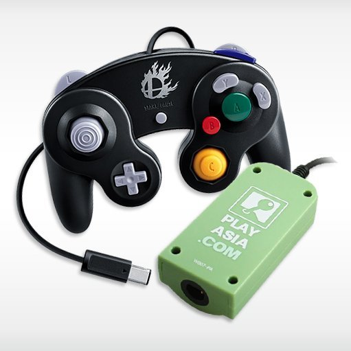 Controller Adapter For Wii U With Black Gamecube Controller Play