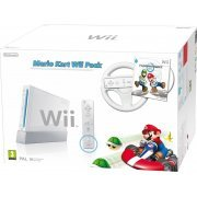 Nintendo Wii with Mario Kart Includes White Wheel and Wii Remote (White) (Europe)