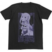 Re:Zero - Starting Life In Another World - Emilia T-shirt Black (L Size) (Japan)