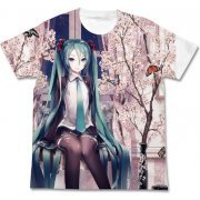Hatsune Miku Haru Miku Full Graphic T-shirt White (XL Size) [Re-run]