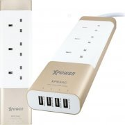 Xpower Luxury Aluminium 4-Port USB Smart Power Strip with 3 AC Socket (Gold)