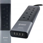 Xpower Luxury Aluminium 4-Port USB Smart Power Strip with 3 AC Socket (Gray)