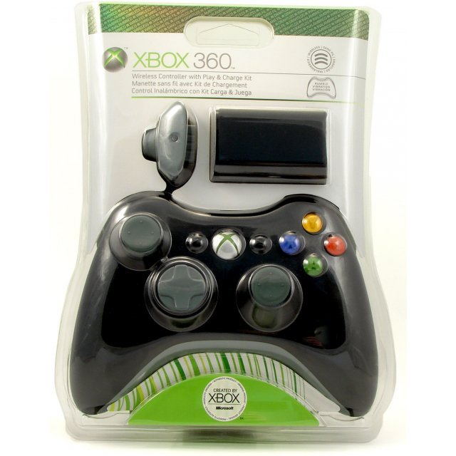 Xbox 360 Accessory Bundle - Wireless Controller + Play & Charge Kit (Black)