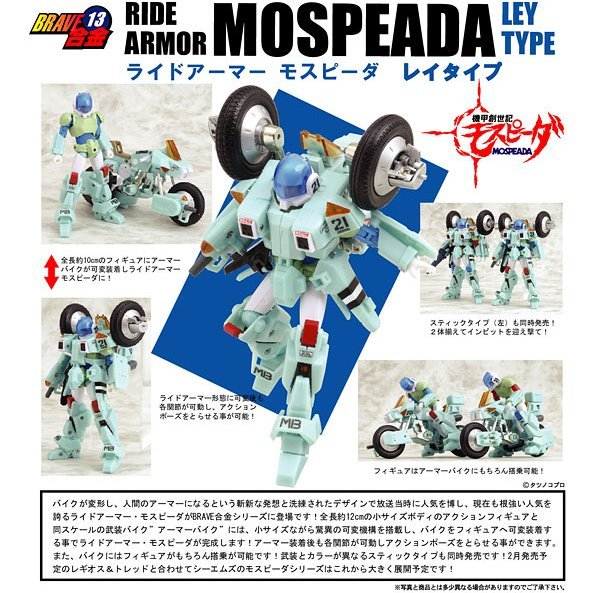 Brave Gokin 13 Mospeada Non Scale Pre-Painted Figure: Ride Armor Ley Type