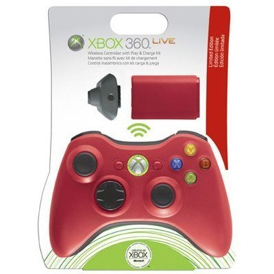 Xbox 360 Accessory Bundle - Wireless Controller + Play & Charge Kit (Red)