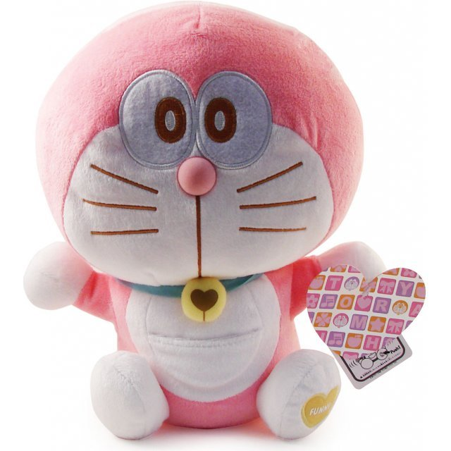 Doraemon Heartydora Wakuwaku Plush Doll: Doraemon Pink (Waving Version)
