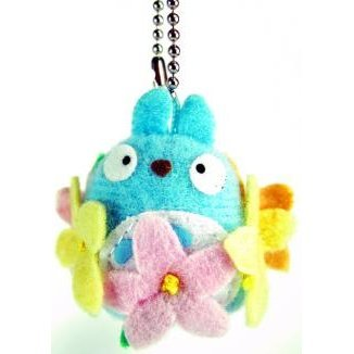 Sun Arrow Tonari no Totoro Mascot Key Chain: Flower Big Totoro (Blue Colour)
