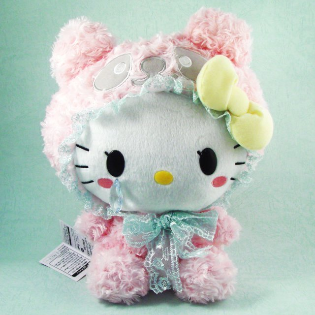 Fluffy Panda Hello Kitty Plush Doll: Pink Panda Kitty