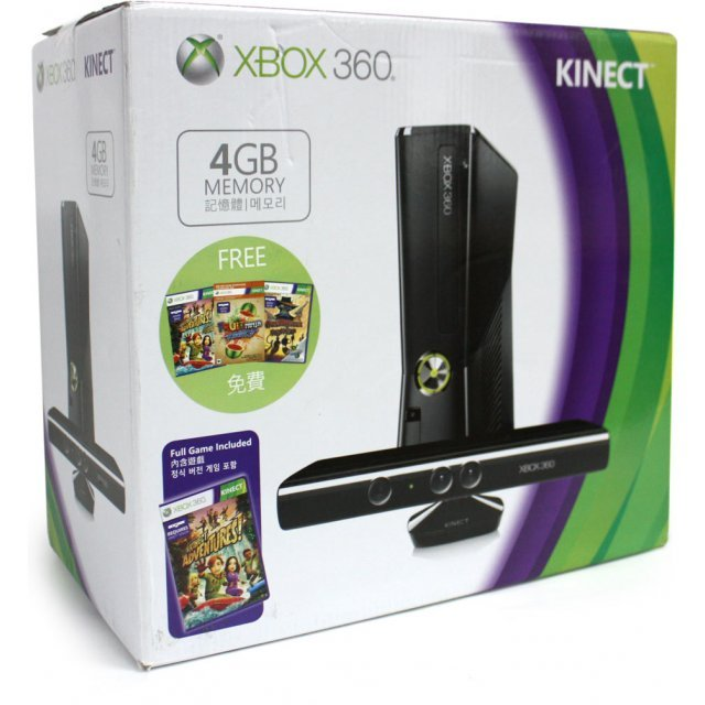 Xbox 360 Arcade Slim Console (4GB) Kinect Bundle incl. Kinect Adventures, The Gunstringer & Fruit Ninja Kinect