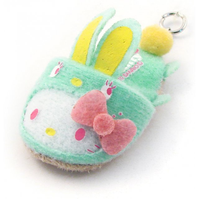 Bandai Hello Kitty Screen Cleaner Strap (Green Rabbit Version)