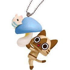 Capcom Monster Hunter Airou Furifuri Pre-Painted PVC Keychain: Airou/Mushroom