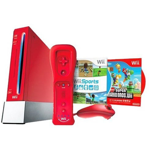 Wii Bundle (with New Mario Bros and Sports Resort - Red)