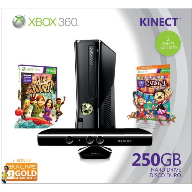 Xbox 360 elite slim console 250gb kinect bundle incl kinect adventures carnival games - Xbox 360 console kinect bundle ...