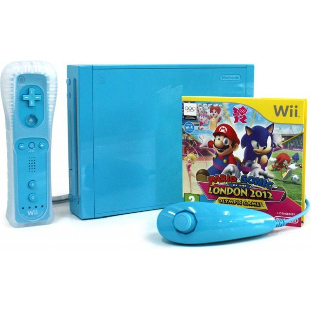 Nintendo Wii Console with Mario and Sonic at the London 2012 Olympic Games (New Slim-Style) (Blue)