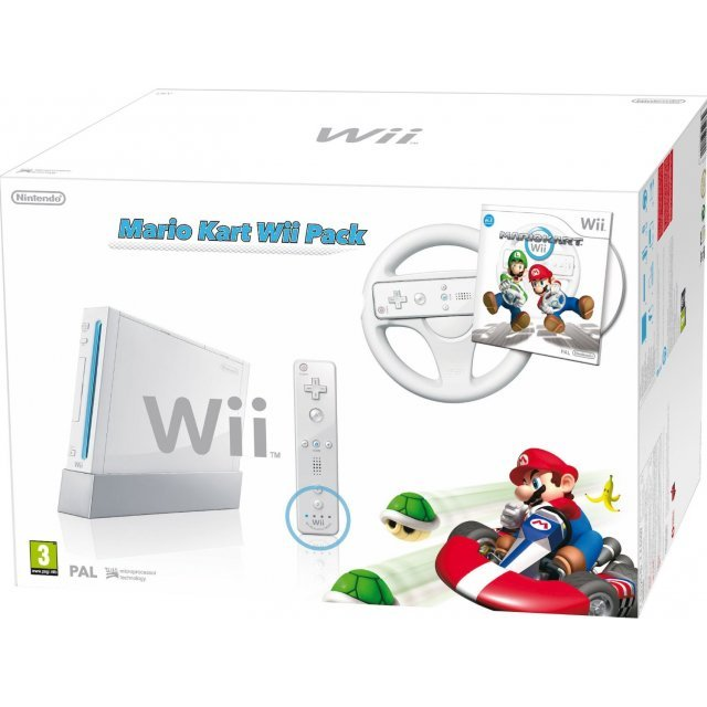 Nintendo Wii with Mario Kart Includes White Wheel and Wii Remote (White)