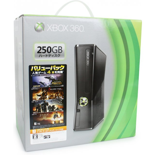 Xbox 360 Console Liquid Black (250GB) [Value Pack]