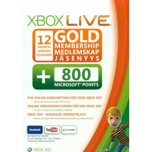 Xbox Live 12-Month Subscription Gold Card + 800 Points