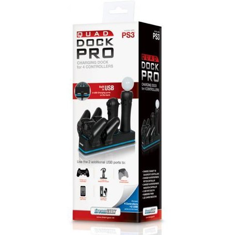 DreamGear Quad Dock Pro - Rubberized Black