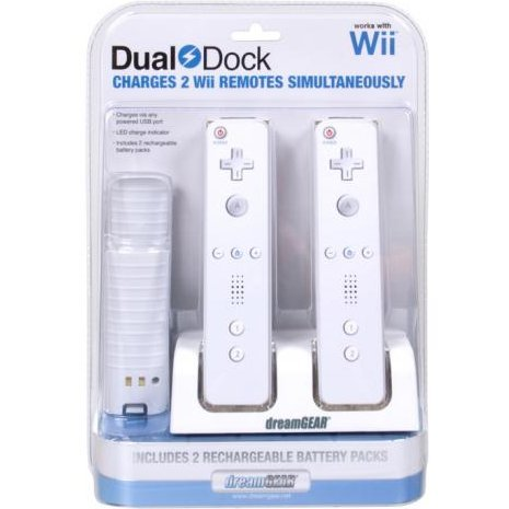 DreamGear Dual Dock (Includes 2 NiMH Rechargeable Battery Packs)  - White