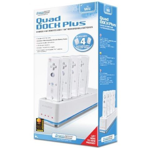 DreamGear Quad Dock Plus (Includes 4 Lithium ION Rechargeable Battery Packs) - White