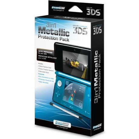 DreamGear 3 in 1 Metallic Protection Pack for 3DS - Black