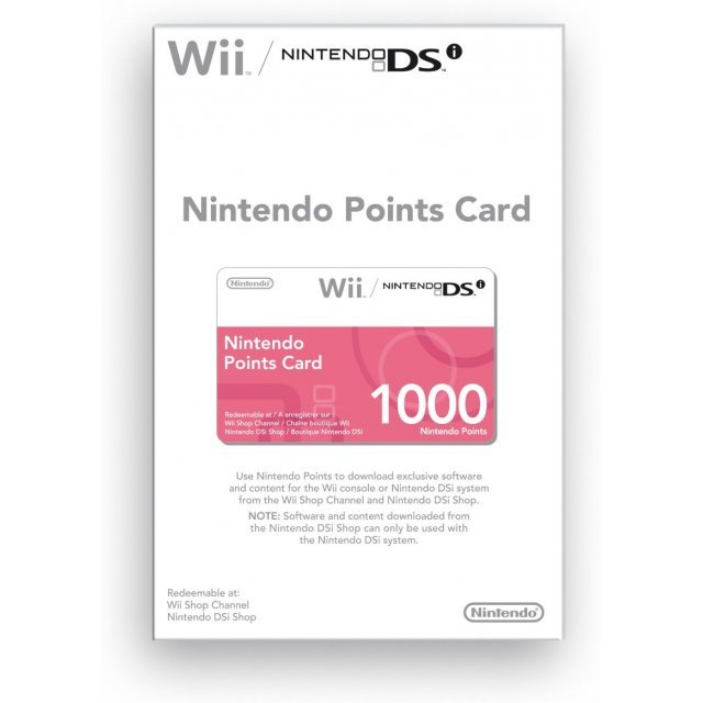 Nintendo Points Card (1000 Wii/DSi Points)
