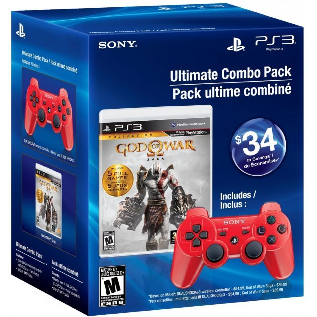 Ultimate Combo Pack: God of War: Saga + Red DualShock 3