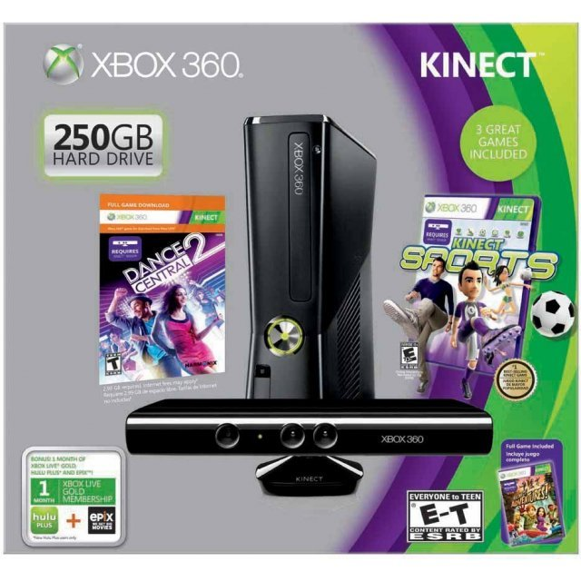 Xbox 360 250GB Kinect Holiday Bundle (Kinect Sports & Kinect Adventures Games)