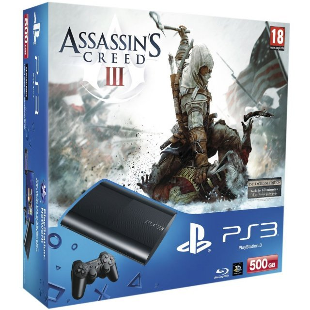 PlayStation3 New Slim Console - Assassin's Creed III Bundle Pack (500GB Charcoal Black Model) (UK Plug)