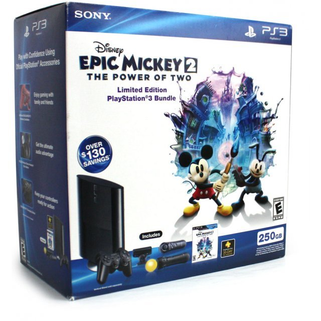 PlayStation3 Move New Slim Console (250GB Charcoal Black Model) - Disney Epic Mickey 2: The Power of Two Bundle