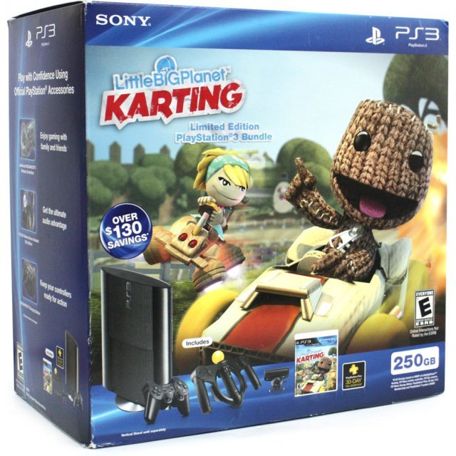 PlayStation3 New Slim Console (250GB Charcoal Black Model) - LittleBigPlanet Karting Limited Edition Bundle