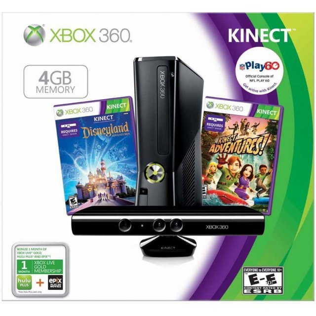 Xbox 360 4GB Kinect Bundle (Your Shape + Disneyland Adventures + Kinect Adventures Games & Xbox Live 3 Month Card)