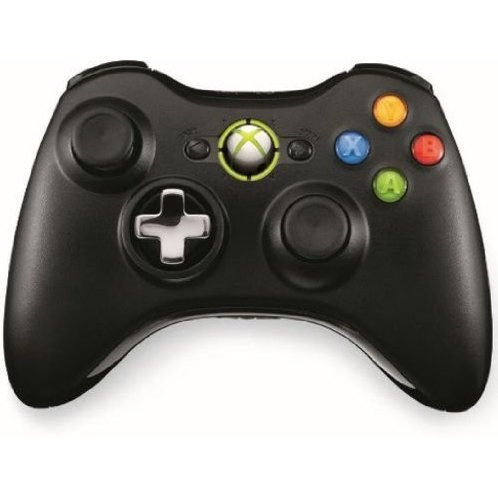 Xbox 360 Wireless Controller with Transforming D-Pad and Play and Charge Kit (Black)
