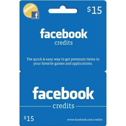 Facebook Card (US$ 15 / for US accounts only)