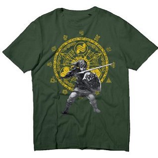 Nintendo The Legend of Zelda Crest Green Men's Tees with Link (S)