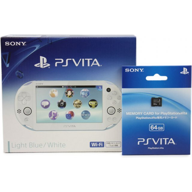 PS Vita PlayStation Vita New Slim Model - PCH-2000 (Light Blue White) [with 64GB Memory Card]