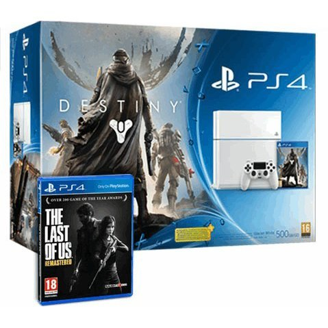 PlayStation 4 White with Destiny + Vanguard and The Last of Us Remastered