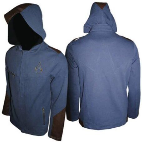 Ubisoft Assassin's Creed Unity Leather Jacket with Hood - Men (Blue) (M)