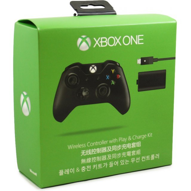 Xbox One Wireless Controller with Play & Charge Kit (Black)