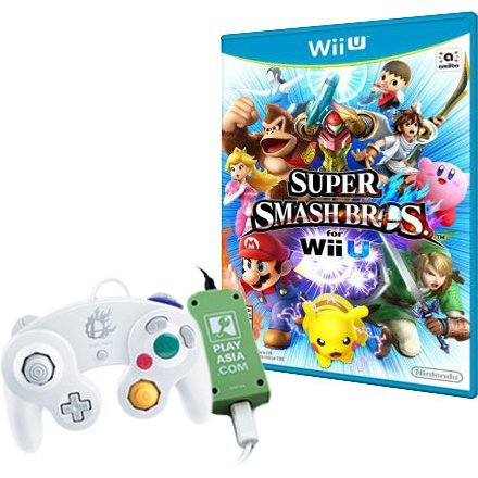 Super Smash Bros. for Wii U with White GC Controller and Adapter (Play-Asia.com Bundle)