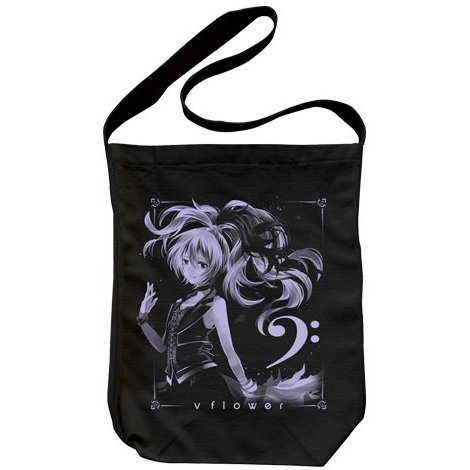 v flower Shoulder Tote Bag Black