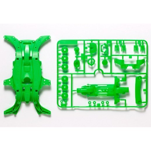 Mini 4WD Limited Edition Grade Up Parts: MA Fluorescence Color Chassis Set (Green)