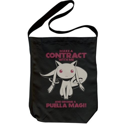 Puella Magi Madoka Magica Shoulder Tote Bag Black: Kyubey