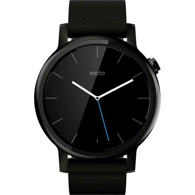 Motorola Moto 360 2nd Gen. 42mm with Black Leather Band (Black)