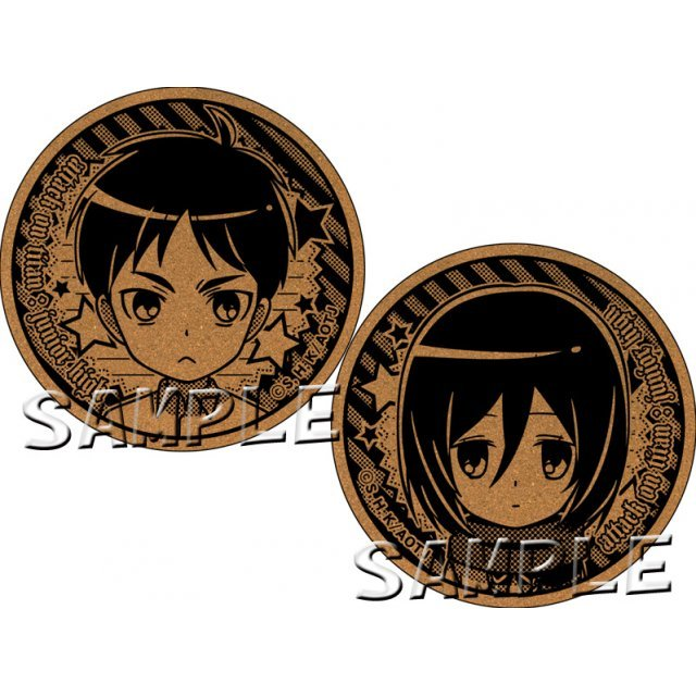 Attack on Titan Junior High Cork Coaster: Eren & Mikasa