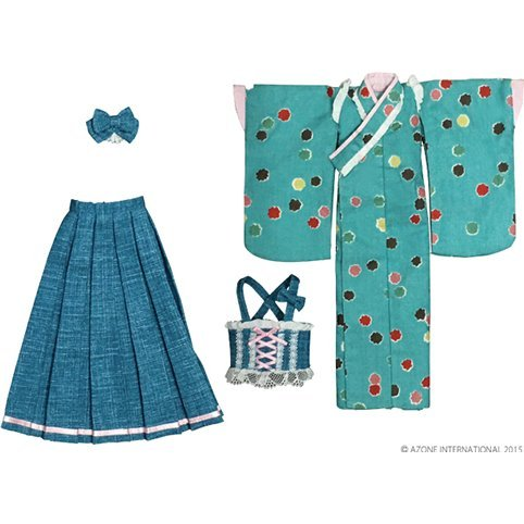 Pureneemo 1/6 Scale Original Costume M Size: Modish Kimono/Hakama Set -Star Candy- (Blue Green)