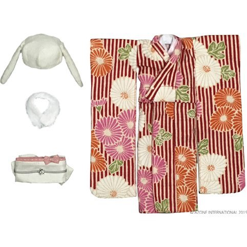 Pureneemo 1/6 Scale Original Costume S Size: Modern Animal Kimono Set (Red x White Rabbit)