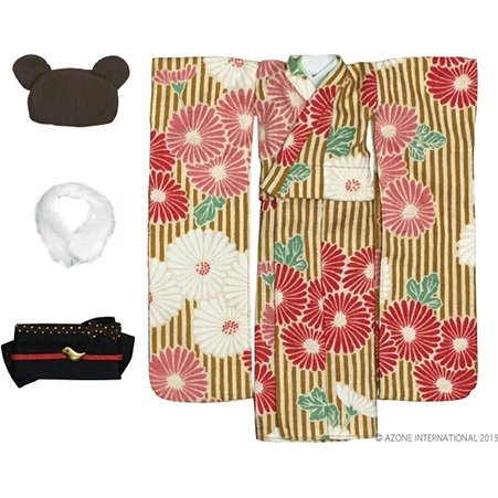 Pureneemo 1/6 Scale Original Costume S Size: Modern Animal Kimono Set (Yellow x Brown Bear)