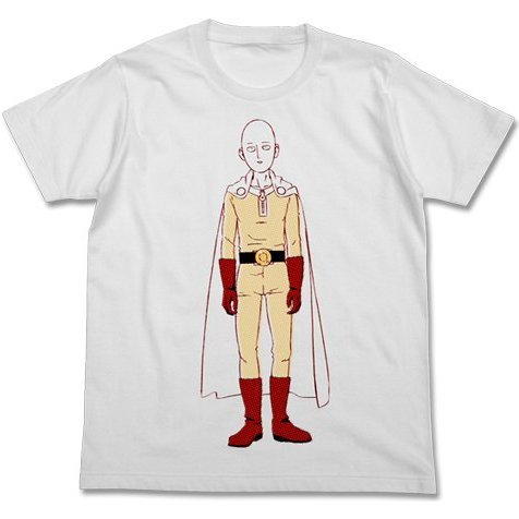 One Punch Man T-shirt White M: Saitama